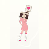 Vintage photographer girl with camera head on white. Background stock illustration