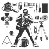 Vintage Photographer Icon Set. Black vintage photographer icon set with man and equipments elements for work vector illustration Stock Image