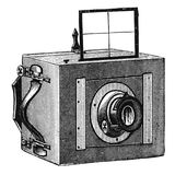 Vintage photographic camera with viewfinder. Wooden photographic camera with viewfinder for personal use. Photographic camera illustration published in Brockhaus Stock Images