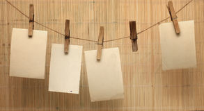 Vintage photographs hang on the clothespin Royalty Free Stock Image