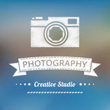 Vintage photography badge. Vector vintage photography badge. Blur backgound Stock Photos