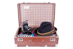 Vintage photography camera with traditional Bavarian hat Stock Images
