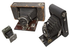 Vintage photography film cameras isolated Royalty Free Stock Photography