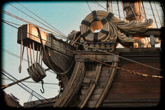 Vintage photography with grain of old pirates galleon. Royalty Free Stock Photos