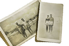 Vintage Photos at the Beach. Vintage photos of a man and woman and 2 men at the beach Royalty Free Stock Photos