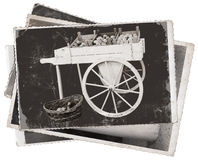 Vintage photos Cart with apples Royalty Free Stock Images