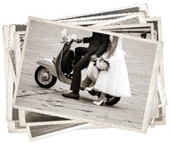 Vintage photos with newlywed Stock Photo