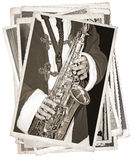 Vintage photos with saxophonist Stock Photography