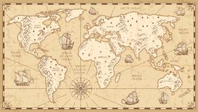 Vintage physical world map with rivers and mountains vector illustration vector illustration