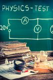 Vintage physics laboratory in old school with electrical diagram Stock Photography