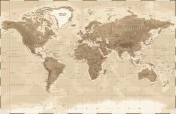 Vintage physique de carte du monde - illustration libre de droits