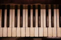 Vintage piano keys, closeup. Vintage piano keys, close up stock photo