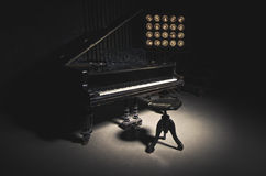 Vintage Piano. A worn piano. Photo with dark tones Stock Photography