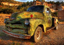 Vintage Pick up truck. A green vintage Pick up truck stock photo