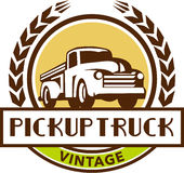 Vintage Pick Up Truck Circle Wreath Retro Stock Image