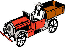Vintage Pick Up Truck Driver Woodcut Stock Images