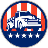 Vintage Pick Up Truck USA Flag Circle Retro Stock Image