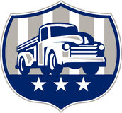 Vintage Pick Up Truck USA Flag Crest Retro Stock Photos