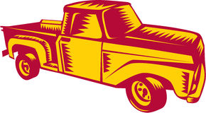 Vintage Pick Up Truck Woodcut Stock Photography