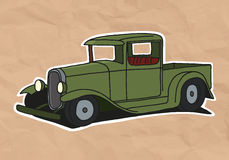 Vintage pickup. Illustration on old paper - illustration vector illustration