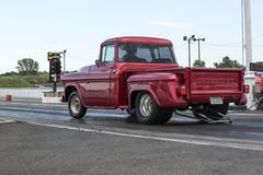 Vintage pickup at the starting line. Picture of vintage Chevrolet pickup at the starting line on the track during the john scotti all out, august 20 2016 Stock Photo
