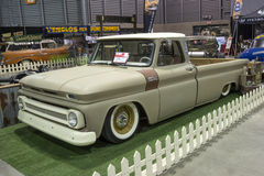 Vintage pickup truck. Front side view of vintage pickup truck in display during salon-auto sport de quebec 2016 Stock Photography