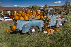 Vintage Pickup Truck with Halloween Display at Milford, CT, October 18, 2016 Stock Photography
