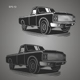Vintage pickup truck vector illustration. Oldschool american car Stock Photo