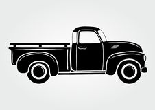 Vintage pickup, truck. Retro transport vehicle stock illustration