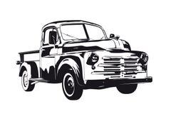 Vintage pickup truck from 1950 vector. Vintage 1950 pickup truck silhouette vector illustration stock illustration