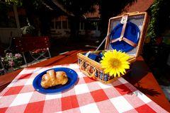 Vintage picnic basket Stock Images