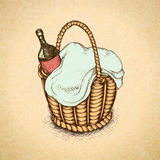 Vintage picnic basket Stock Photo
