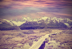 Vintage picture of Andes, Fitz Roy mountain range. Stock Photos