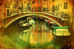 Vintage picture of a canal in Venice Royalty Free Stock Photography