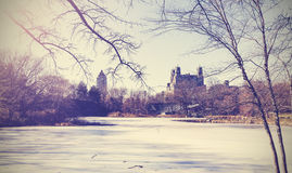 Vintage picture of Central Park lake in winter. New York, USA. Stock Photos