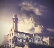 Vintage picture of dramatic rainy sky over Alcatraz Island. Stock Photography