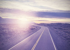 Vintage picture of famous road, Route 40, Patagonia Royalty Free Stock Photo