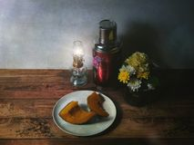 Vintage picture of flowers and foods Stock Photography