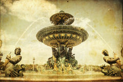 Vintage picture of a fountain in Paris, France Royalty Free Stock Photo