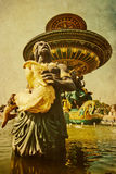 Vintage picture of a fountain sculpture Stock Images