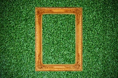 Vintage picture frame on beautiful green grass Royalty Free Stock Photography