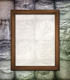 Vintage picture frame on collage jeans. Vintage picture frame on collage set of jeans background royalty free stock photography