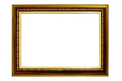 Vintage picture frame isolated on white background, empty wooden frame stock photos