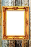 Vintage picture frame on wood background Stock Images