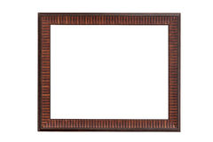 Vintage picture frame, wood plated isolated on white with clippi Royalty Free Stock Images