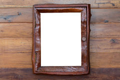Vintage picture frame, wood plated, white background, clipping p royalty free stock photos