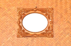 Vintage picture frame on woven wall Royalty Free Stock Images