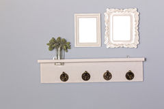 Vintage picture frames blank and hanger wooden. Royalty Free Stock Photo