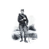 Vintage picture. French soldiers of the late 19th century. Royalty Free Stock Photos