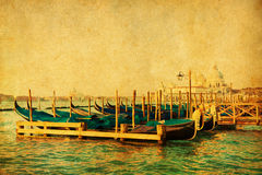 Vintage picture of gondolas in Venice Stock Photography